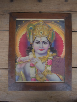 Embellished 1950s Print of Lord Krishna